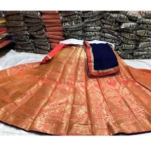 Unstitched lengha